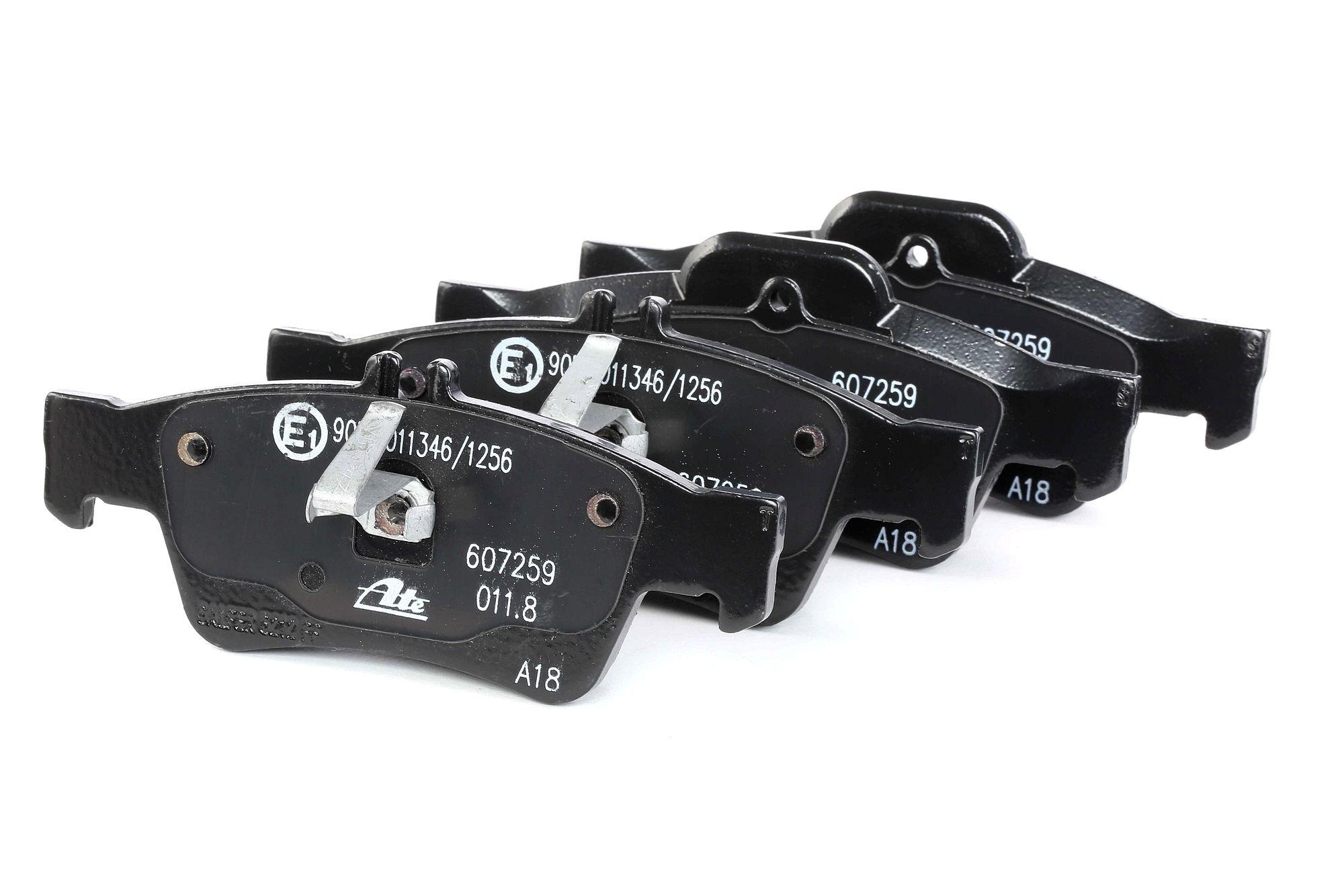 ATE: Original Bremsbeläge 13.0460-7259.2 (Höhe 1: 59,6mm, Höhe 2: 57,5mm, Breite 1: 141,1mm, Breite 2: 139,8mm, Dicke/Stärke: 16,7mm)