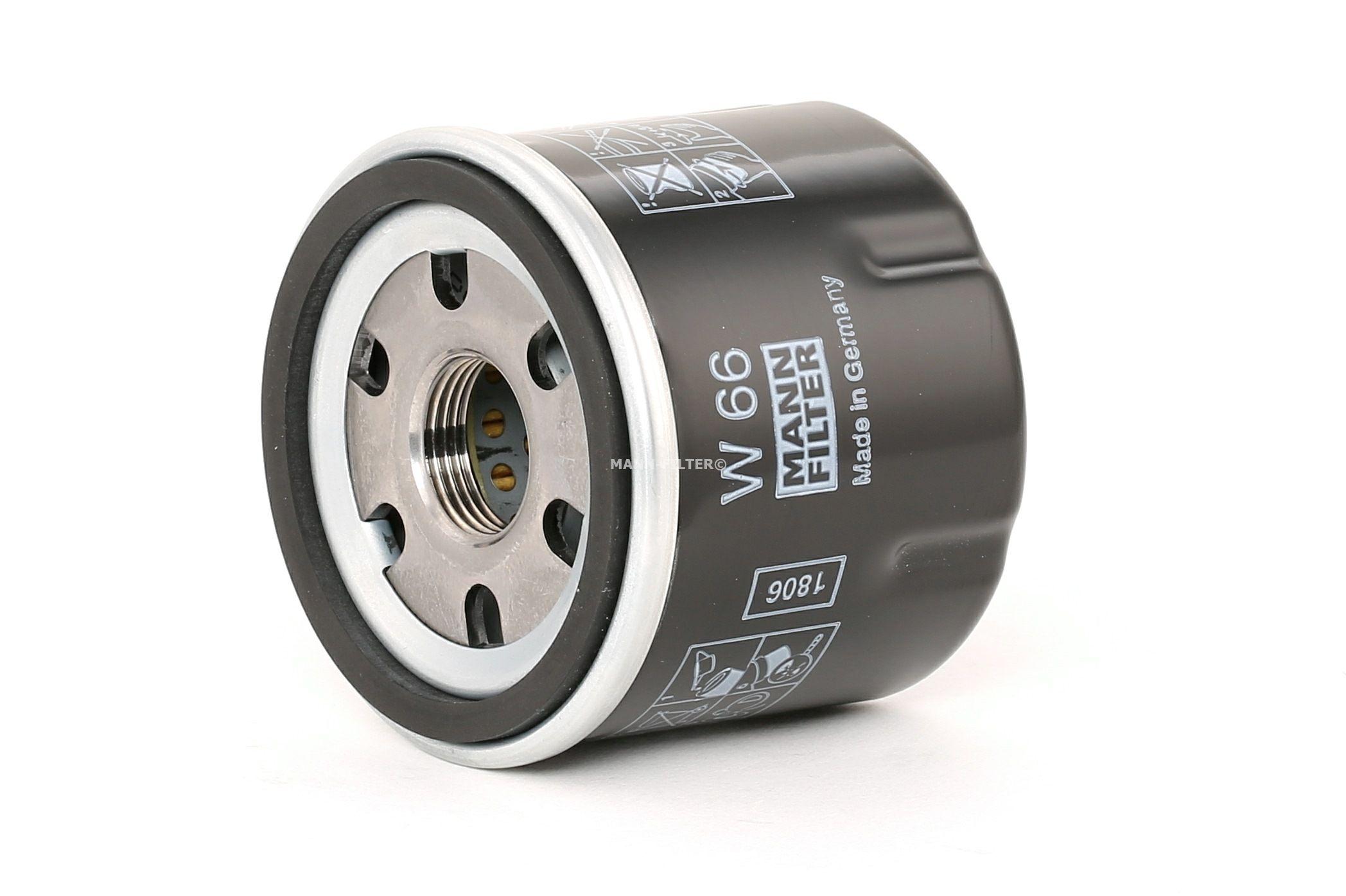 MANN-FILTER W 66 (Diamètre intérieur 2: 54mm, Diamètre intérieur 2: 54mm, Ø: 66mm, Diamètre extérieur 2: 62mm, Hauteur: 60mm) : Filtre à huile Renault Kangoo kc01 2019