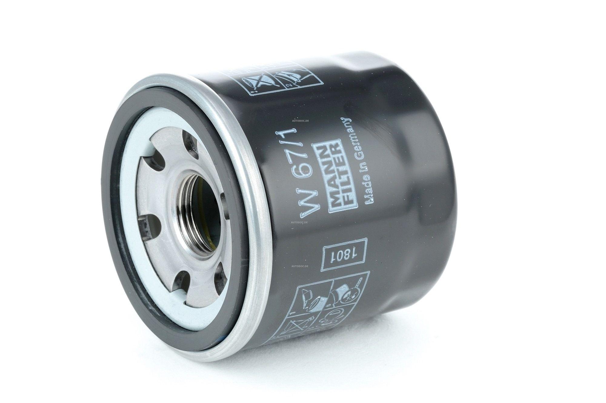 W 67/1 MANN-FILTER Anschraubfilter, mit einem Rücklaufsperrventil Innendurchmesser 2: 54mm, Ø: 66mm, Außendurchmesser 2: 62mm, Höhe: 65mm Ölfilter W 67/1 günstig kaufen