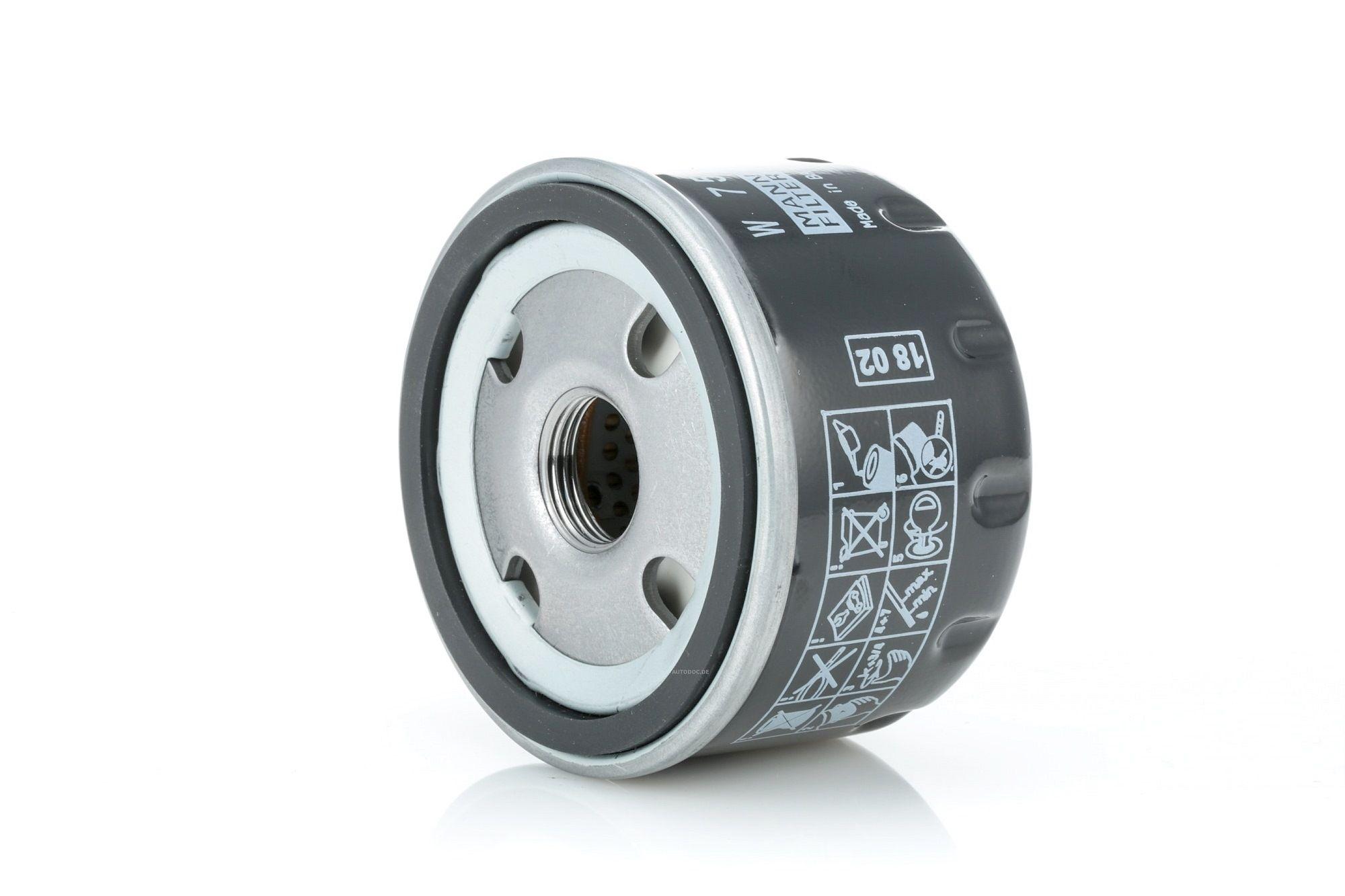 W 75/3 MANN-FILTER Opschroeffilter, Met een terugloopbeveiligingskleppen Binnendiameter 2: 62mm, Ø: 76mm, Buitendiameter 2: 71mm, Hoogte: 50mm Oliefilter W 75/3 koop goedkoop