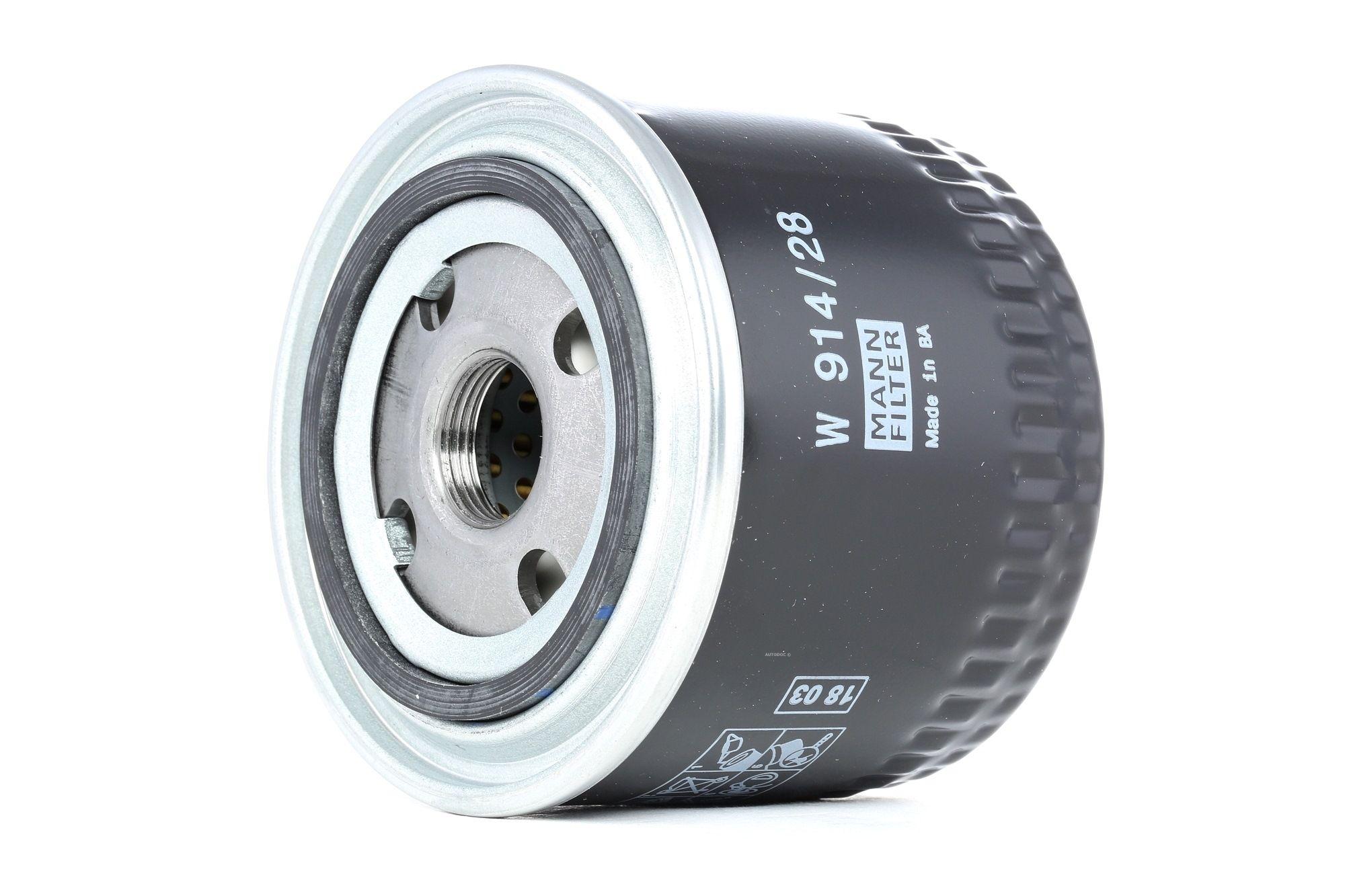 W 914/28 MANN-FILTER with one anti-return valve Inner Diameter 2: 63mm, Ø: 93mm, Outer diameter 2: 72mm, Height: 78mm Oil Filter W 914/28 cheap