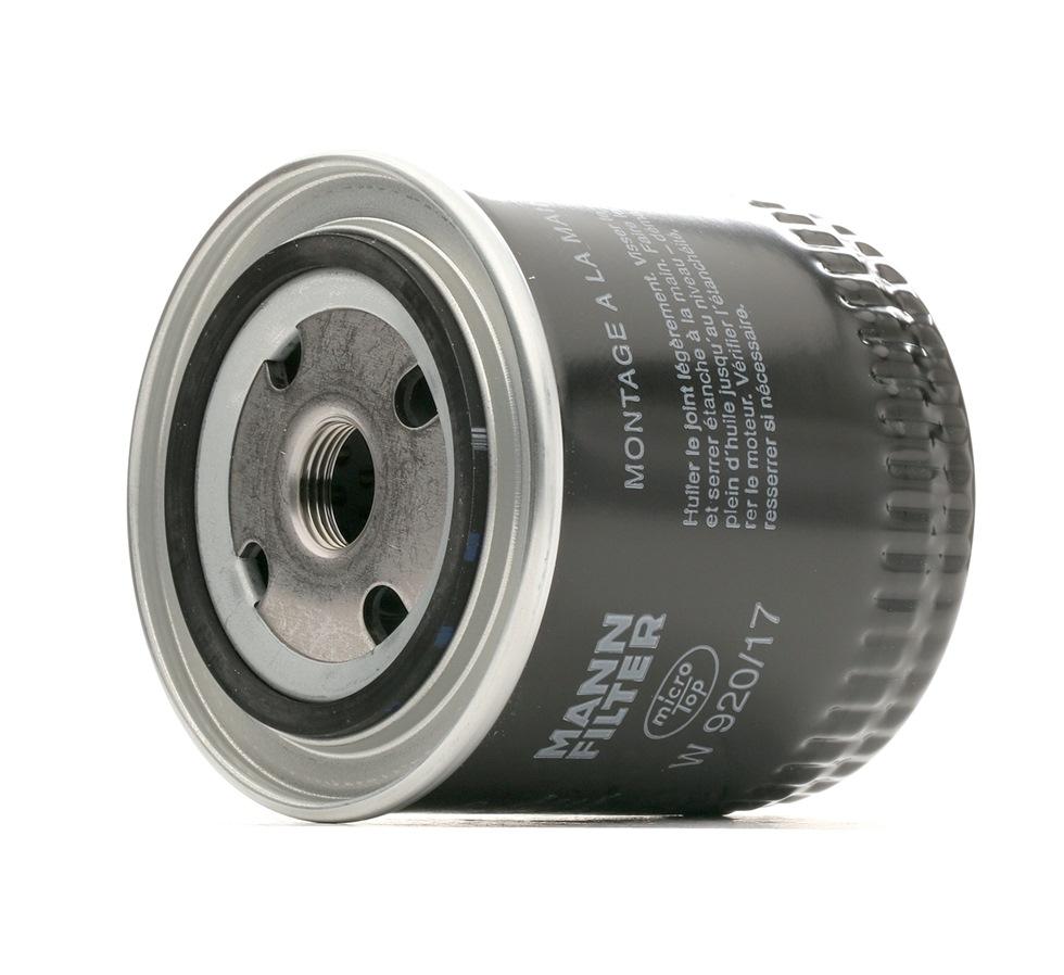 Achetez Filtre à huile MANN-FILTER W 920/17 (Diamètre intérieur 2: 62mm, Diamètre intérieur 2: 62mm, Ø: 93mm, Diamètre extérieur 2: 71mm, Hauteur: 95mm) à un rapport qualité-prix exceptionnel