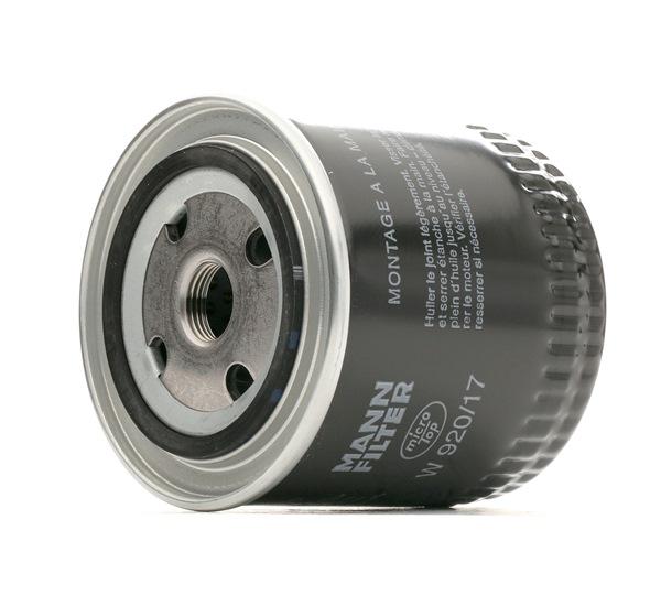 Pieces detachees VOLKSWAGEN 411/412 1970 : Filtre à huile MANN-FILTER W 920/17 Diamètre intérieur 2: 62mm, Ø: 93mm, Diamètre extérieur 2: 71mm, Hauteur: 95mm - Achetez tout de suite!