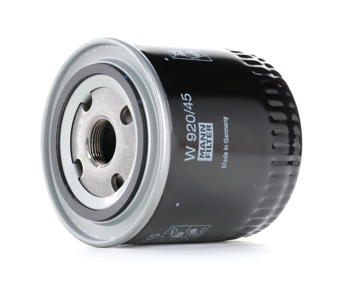 MANN-FILTER: Original Ölfilter W 920/45 (Innendurchmesser 2: 62mm, Innendurchmesser 2: 62mm, Ø: 93mm, Außendurchmesser 2: 71mm, Höhe: 95mm)