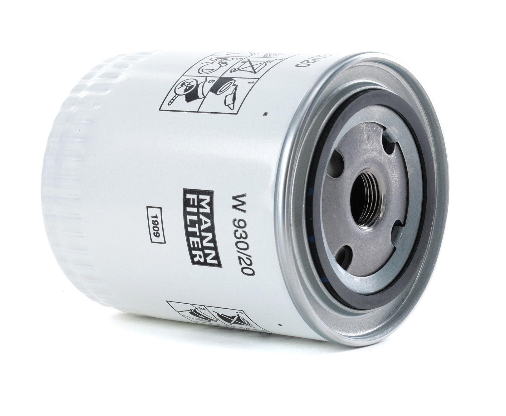 MANN-FILTER: Original Ölfilter W 930/20 (Innendurchmesser 2: 62mm, Innendurchmesser 2: 62mm, Ø: 93mm, Außendurchmesser 2: 71mm, Höhe: 114mm)