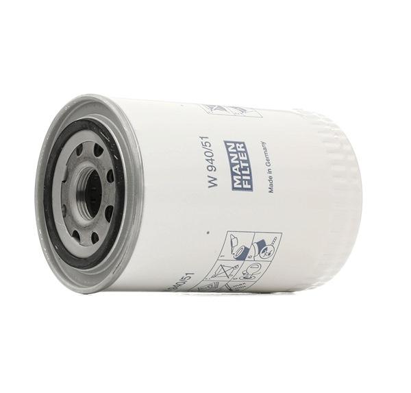 Bestil W 940/51 MANN-FILTER Filter, arbejdshydraulik nu