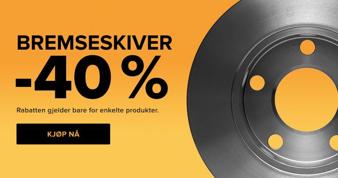 Tilbudet utløper snart Supersalg Bremseskiver -40 % - Kjøp nå!