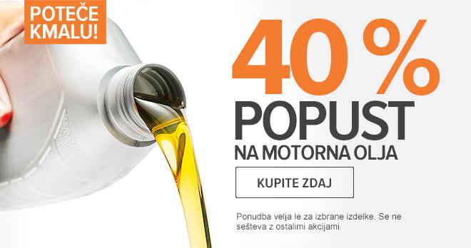 Poteče kmalu: -40 % Motorna Olja! Nakupuj zdaj!