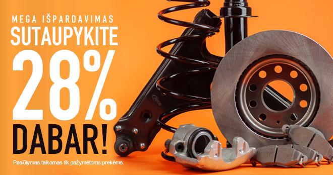 Sutaupykite 28% autodalims