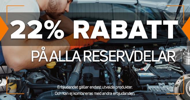 22% rabatt på reservdelar som du älskar mest