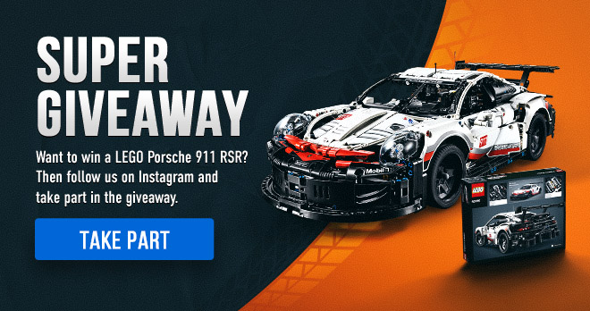 SUPER GIVEAWAY! Want to win a LEGO Porsche 911 RSR? Then follow us on Instagram and take part in the giveaway. Take part!
