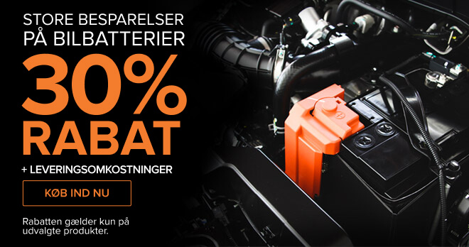 Store besparelser på Bilbatteri 30% RABAT