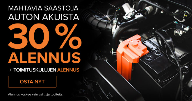 Mahtavia säästöjä auton akuista 30 % ALENNUS
