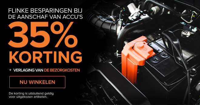 Flinke besparingen bij de aanschaf VAN ACCU'S 35% KORTING + Verlaging van de bezorgkosten - Nu winkelen! De korting is uitsluitend geldig voor uitgekozen artikelen.
