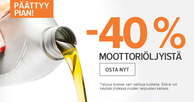 Päättyy pian: -40 % Moottoriöljy! Osta nyt!