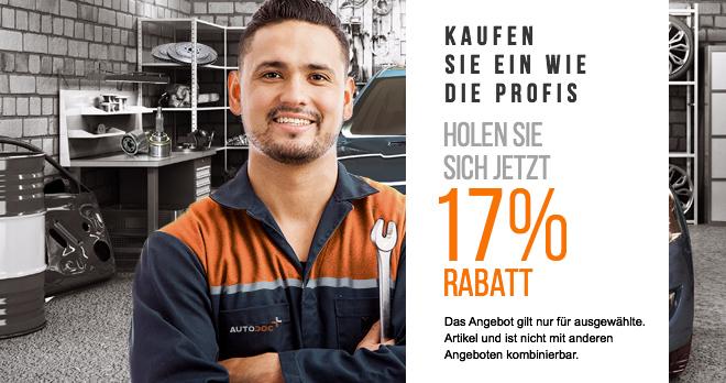 17% Rabatt auf alle Ersatzteile